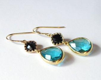 Black and Sea Green Earrings, Gift for Her, LBD Jewelry, Gold Dangle Earrings, Faceted Glass Stones
