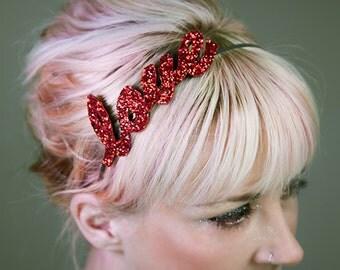 Custom Glitter Name or Word Hairband Fascinator