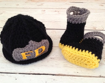Baby Firefighter Fireman Hat & Boots, Preemie, Newborn, 0-3, 3-6, Photography Prop - MADE TO ORDER