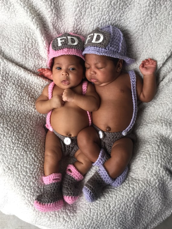 FREE SHIPPING Twin Baby Firefighter Fireman Hats, 8 pc Crochet Diaper Cover Set w/Suspenders & Boots, Newborn, 0-3, 3-6, Photography Prop