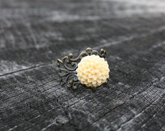 SALE Elegant Ivory Bloom Antique Bronze Filigree Ring