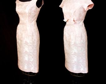 1960s Dress // Pink Hydrangea Satin Wiggle Dress with Crop Top