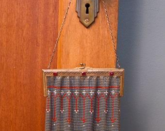 1920s Purse // Painted Enamel Mesh Art Deco Jeweled Purse