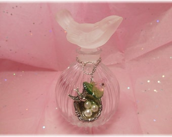 Vintage Crystal Bird Perfume Bottle