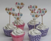 CLEARANCE 50% off - Birthday heart cupcake topper - food pick - tooth pick presents pastel