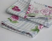 Checkered dish towel tea towel - roses berries pink blue print