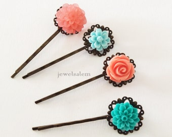 Coral Turquoise Hair Pins Vintage Style Wedding Bobby Pin Set of 4 Peach Teal Aqua Customised Floral Hair Clips Bridesmaid Gift Flower Girl