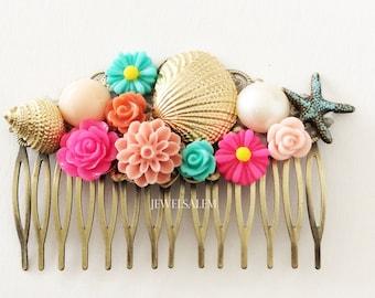 Starfish Hair Comb Beach Wedding Hair Slide Coral Deep Pink Aqua Seafoam Gold Shell Ivory Pearl Bridal Headpiece Colorful Bright