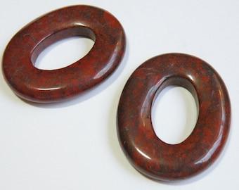 1 Natural Brecciated Jasper focal oval donut gemstone 45x36mm 7199NB