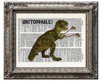 Tyrannosaurus Rex with Grabbers is UnStoppable on Vintage Upcycled Dictionary Art Print Book Art Print Recycled Amazing Animalia Dinosaur