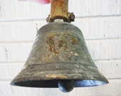 Rustic hand bell antique vintage primitive rustic spelter loud