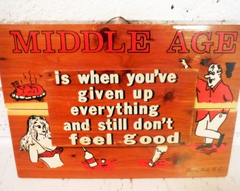 Middle age humor wooden wall art plaque over the hill souvenir blowing rock north carolina nc