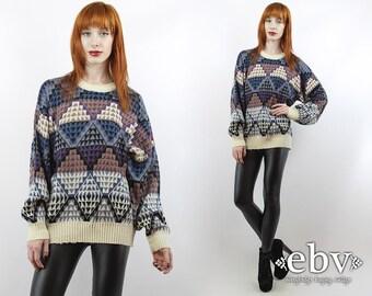 Vintage 90s Cream Triangles Oversized Sweater S M L Oversized Jumper Oversized Knit 90s Sweater Cosby Sweater Boho Sweater Hippie Sweater