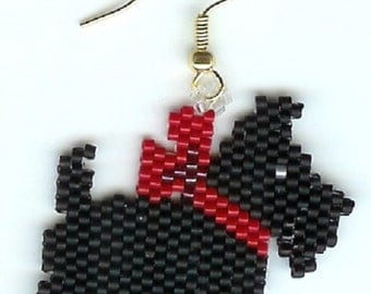 Beautiful Hand Beaded Black Scottie Dog with Red bow earrings