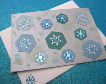 Glittery Hexagon Snowflakes Handmade Greeting Card // Let It Snow // Christmas Card // Holiday Card