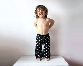 SALE - Black star kids pants 12-18 trousers cotton summer toddler trouser dark wizard magic unisex surf beach spring comfy clothing kids fun