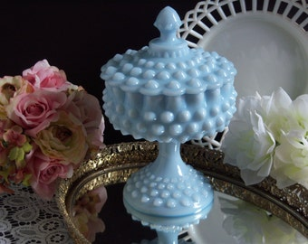 Rare Blue Pastel Fenton Hobnail Milk Glass Compote - Wedding Milk Glass - Something Blue - Blue Hobnail Compote - Fenton Blue Pastel