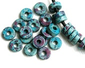 Greek Ceramic Rondelle beads - Moss, dark Turquoise with purple, for leather cord - rondel, spacers, 8mm - 25pc - 0833