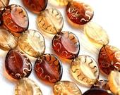 Amber Topaz beads mix, czech glass, oval beads, Golden inlays, teardrop shape, pear - 17x14mm - 8pc - 1978
