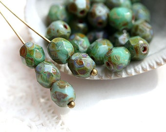 6mm beads, picasso beads - Dark Turquiose rustic picasso finish - czech glass beads, fire polished, round faceted spacers - 30Pc - 0673