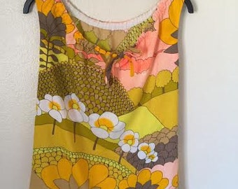 Vintage 1960s psychedelic tank top summer shirt unique floral hippie pop art mustard yellow neon size small medium large