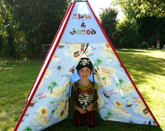 Personalised Pirate Teepee / Tipi Children's large play tent. Perfect gift