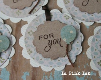 LAST ONE 6 Vintage Inspired For You Gift Tags ~ Favour Tags ~ Party Bag Tags ~ Birthday Balloon Tag