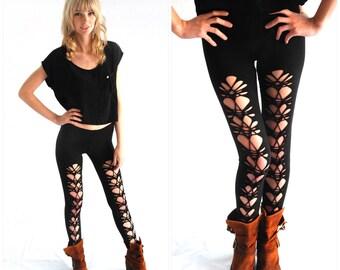 Black leggings, Women's  Leggings, tights, Shredded Legging,Cut Leggings, Plus Size, Womems Black Cut Leggings, Stretch Pants, Yoga Pants