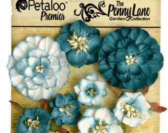 Petaloo Premier Penny Lane Collection Mixed Blossoms In Teal, Flower Embellishement , Scrapbook Embellishments