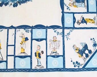"Vintage 1950's Tablecloth, Hummel Children Print, Blue, Yellow, White, Flowers, 62"" x 52"""