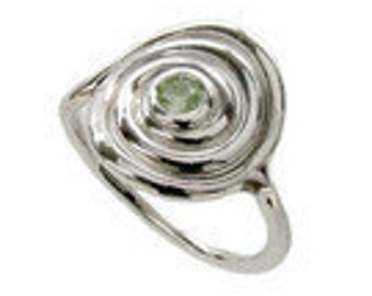 Spiral Ring with Peridot - Sterling Silver