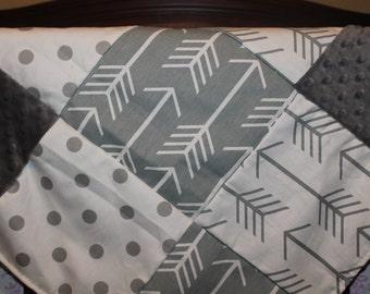 Gray Arrow, White Gray Dot, White Gray Arrows, and Gray Minky Patchwork Baby Blanket
