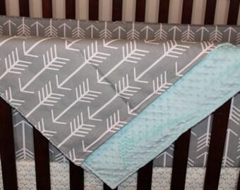 Gray Arrow and Minky Blanket