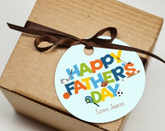 Personalized Happy Father's Day Favor Tag - Sports Themed - DIY Printable Digital File