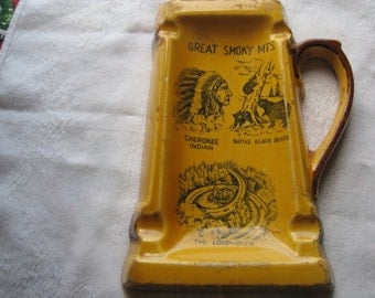 Vintage Great Smoky Mountains Souvenir Stein Ashtray