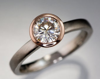 Moissanite Rose Gold Bezel Solitaire Engagement Ring with Palladium Band, Modern Mixed Metal Ring, Forever One Moissanite Ring