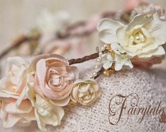 Vintage Creams Rustic Roses N Lace w Pearl Peony Azalea  head halo headwreath Wedding Brides Flower Girls Creams Lace Maternity Bridesmaids