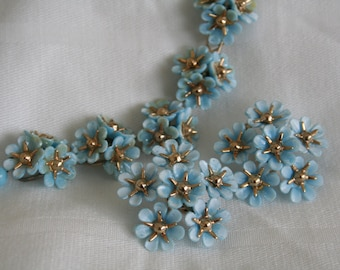 Sky Blue Daisy Necklace and Earrings