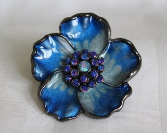 Blue Enamel Flower Brooch