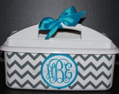 Monogrammed Shower Caddy  - - - Must-Haves for Camp,  Dorm Room & Sorority House - - - Assorted Colors/Designs