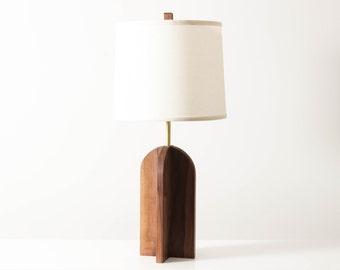Oval Lamp in Walnut- Table Lamp, Wooden Lighting, Modern Sapele Lamp, Geometric Table Lighting