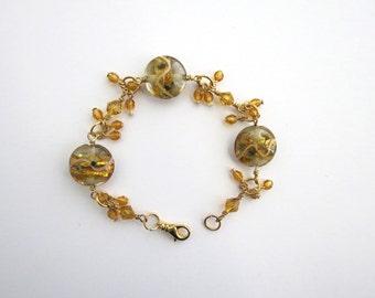 Amber Beaded Bracelet, Beaded Bracelet, Amber Glass Bracelet, Green Glass Bracelet, Womens Bracelet, Store Closing
