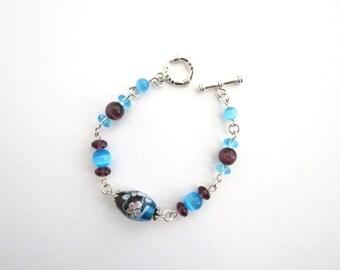 Glass Beaded Bracelet, Blue Bracelet, Purple Beaded Bracelet, Flower Bracelet, Tigereye Bracelet, Tiger Eye Bracelet, Store Closing