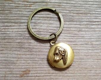 Dog Locket Key Chain, Brass Dog Locket, Canine Locket, Dog Locket Key Ring, Animal Jewelry, Round Brass Locket, Antiqued Brass Key Ring