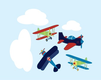 Nursery decals - kids decal - Plane decal - Vinyl wall decal - Cloud decal - vinyl wall decal