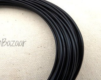 Aluminum wire for jewelry and crafts, 2mm 12 gauge round, black, 39 foot coil