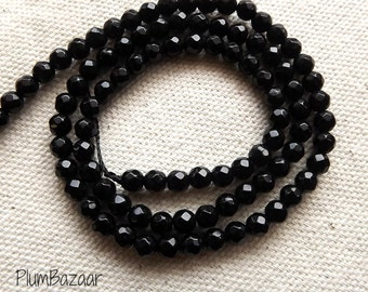 Faceted Obsidian, 15 inch strand of 4mm round beads