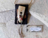 Poor Translation - Textile Necklace/Poetry Carrier/Mixed Media Necklace