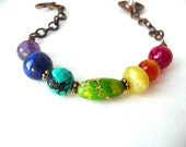 Chakra Rainbow Colorful Bracelet Oxidized Copper