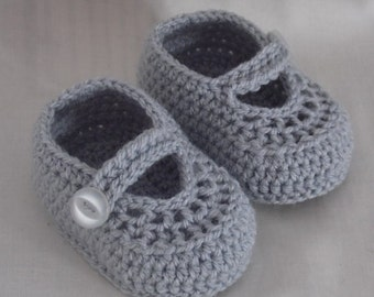 Silver Grey Baby Shoes, Cute Baby Booties, Crochet Shoes, Baby Shoes, Crochet Baby Shoes, Infant Shoes, Newborn Shoes CHOOSE COLOUR